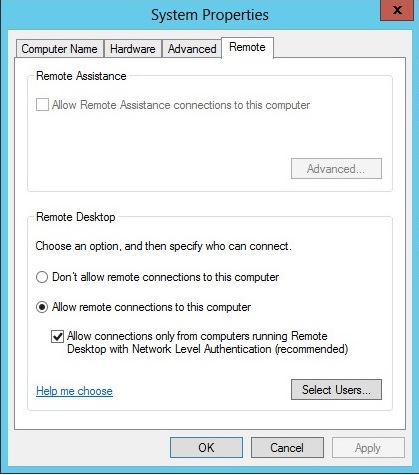 Remote Desktop Settings