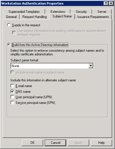 Certificate auto enrollment not working 150310 1 on the subject name tab select build from active directory information and also ensure dns name is checked yelopaper Choice Image