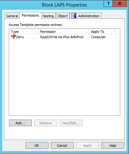 Deny Read/Write LAPS Access Template