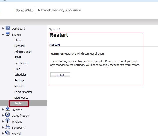 How can I restart the SonicWall from the GUI or the CLI