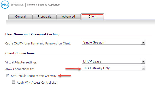 Sonicwall global vpn client default gateway