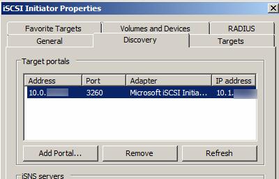 iSCSI Initiator Properties