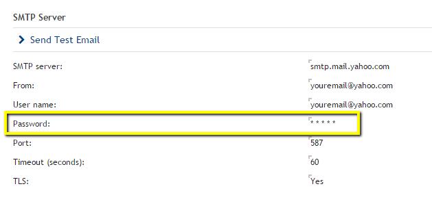 Yahoo SMTP Settings
