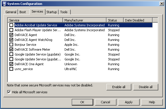Example of msconfig.exe
