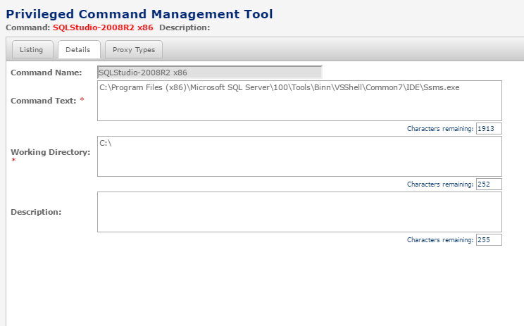 Opening SQL Management Studio using PCM in a PSM RDP session
