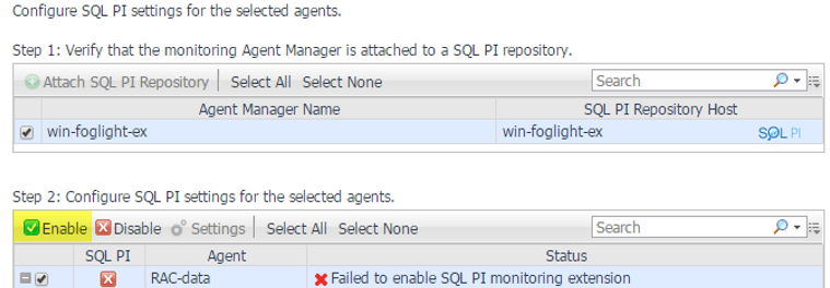 Failed to enable SQL PI monitoring extension (connection issues