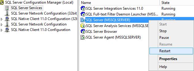 Restart Database Engine