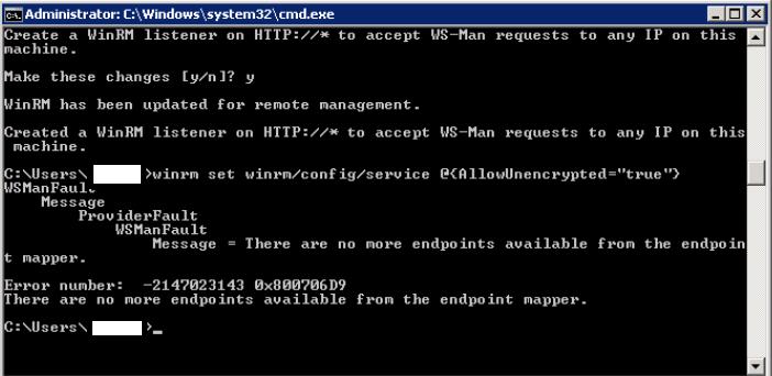 Endpoints error