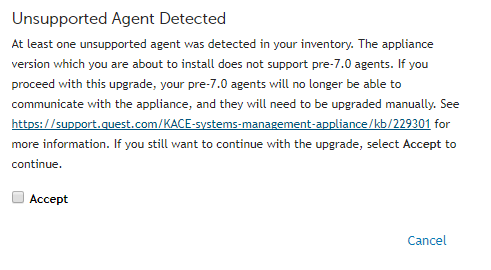 Unsupported Agent Detected warning message