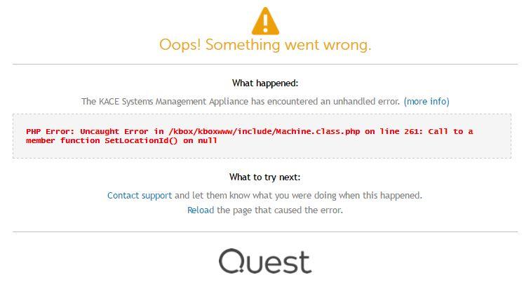 Oops error