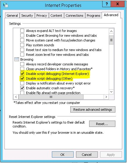 Internet Options configuration