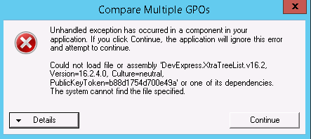 The application is crashing when trying to print a GPO