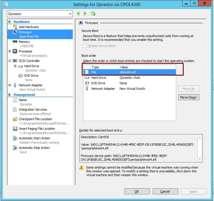 """Boot Failed  EFI SCSI Device"""" error when booting a Hyper-V VM for"""
