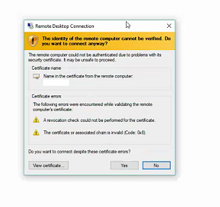 Certificate Alert