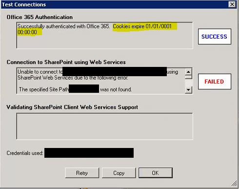 Unable to authenticate using Office 365 Authentication