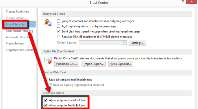 Enabling Scripting in Outlook for Shared/Public Folders for Archive