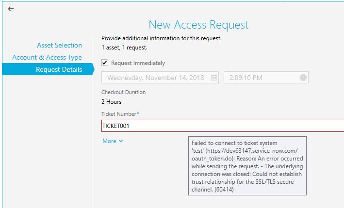 Error when entering ticket number when using a ServiceNow ticketing