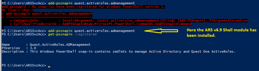 No snap-ins have been registered for windows Powershell