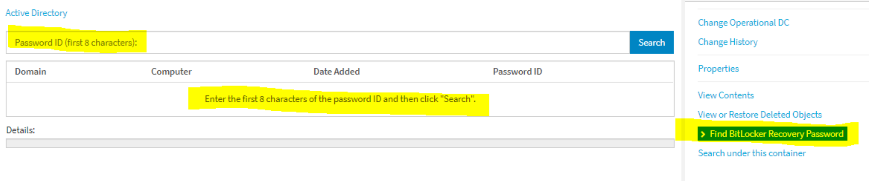Bitlocker Password ID Search