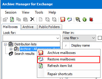 Restore Mailboxes