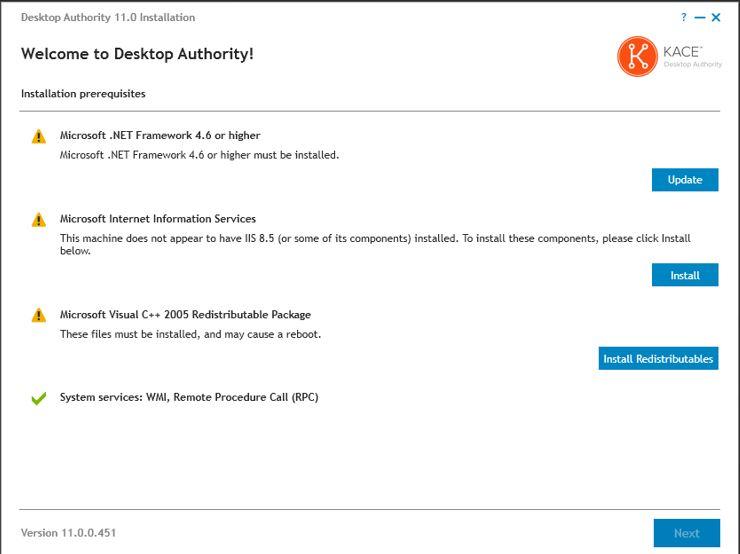 Desktop Authority prerequisites window
