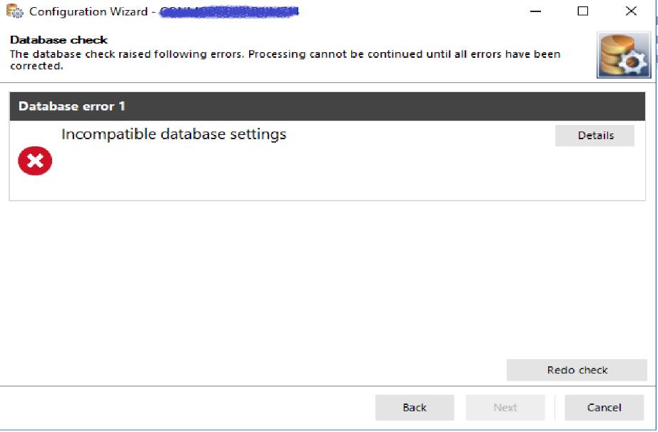 Configuration Wizard error message