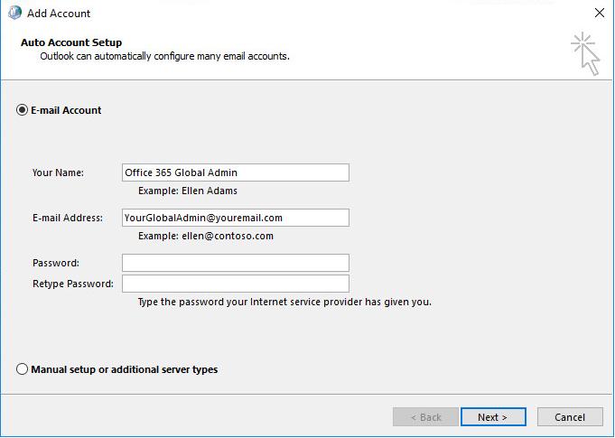 Add Account Office 365 Global Admin