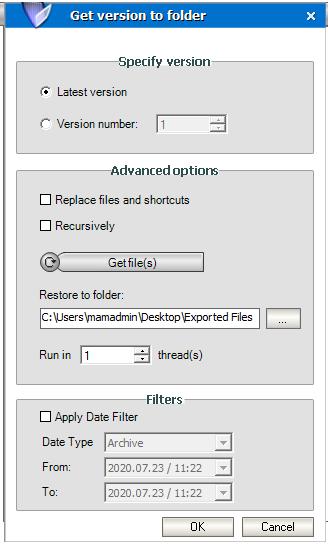 Get version to folder