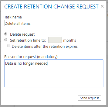 Create retention change request