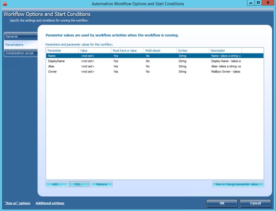 Workflow Parameters