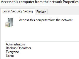 Default Access this computer from the network
