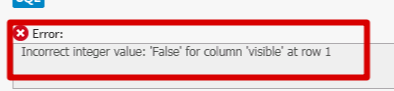MySQL Sync Error