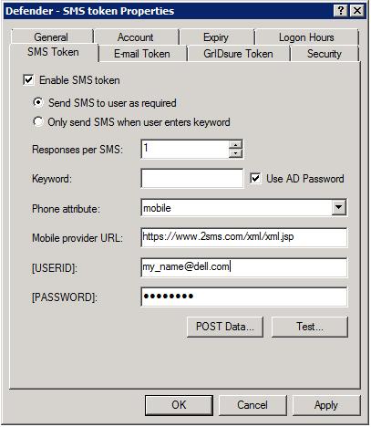 SMS Token tab