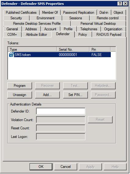 User Defender Tab