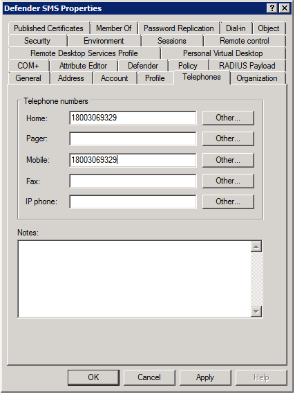 User Telephone Tab