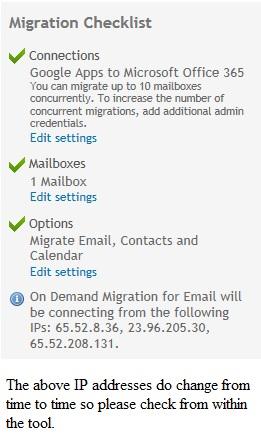 Image of Migration checklist showing ODME IP addresses