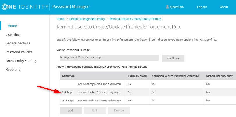 Remind Users to Create/Update Profiles Enforcement Rule