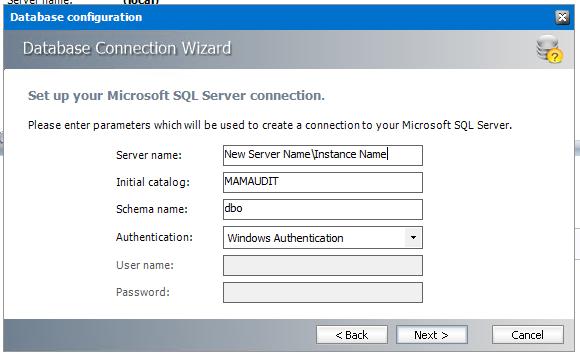 Configure - New Server name
