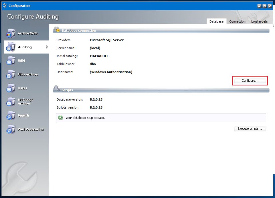 Audit tab - Configure