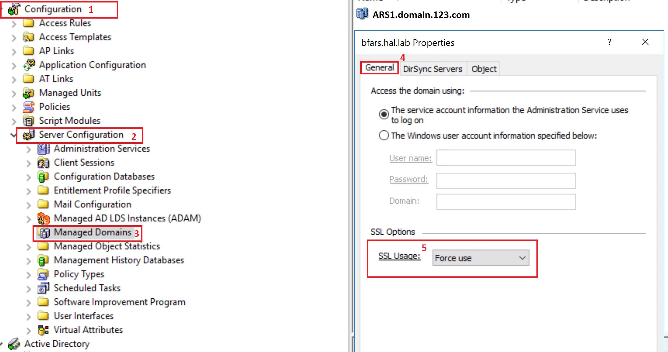 SSL Usage dropdown setting