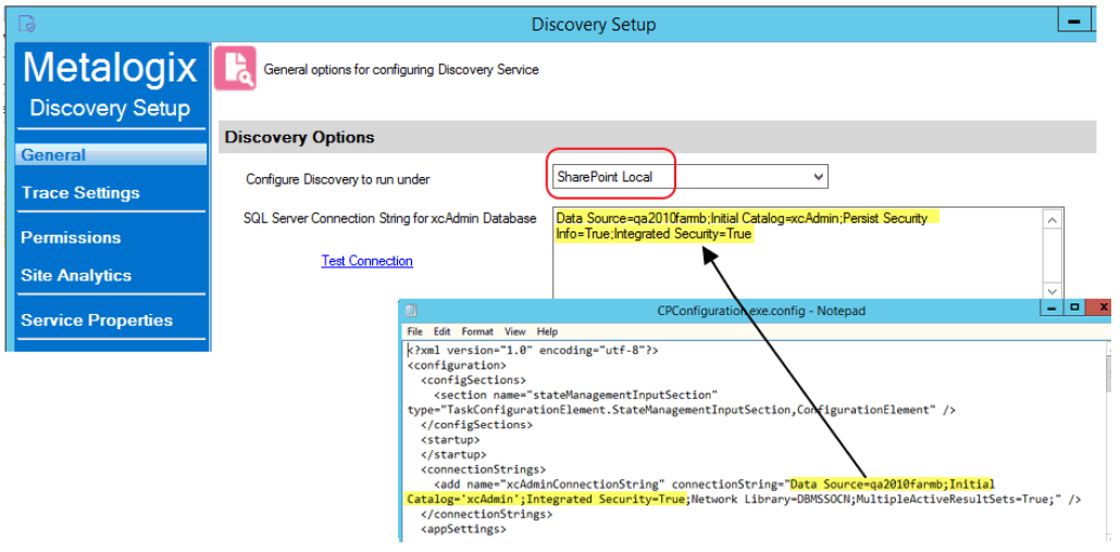 General Options for configuring Discovery Service