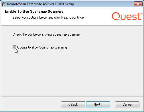 RemoteScan installer Update to allow ScanSnap Scanning
