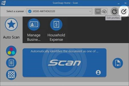 Edit scanner profile within ScanSnap Home window