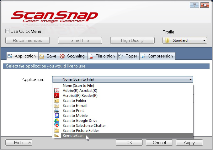 Choose RemoteScan as application in SnanSnap Manager