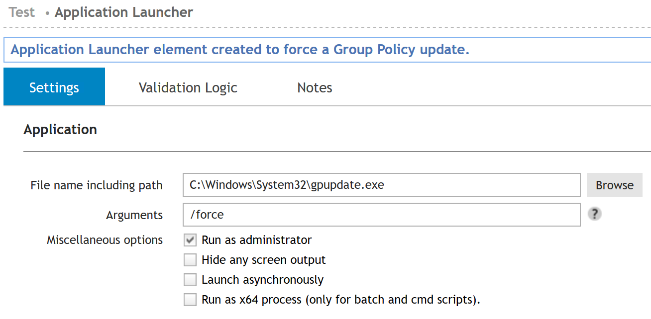 Application Launcher element created to force a group policy update