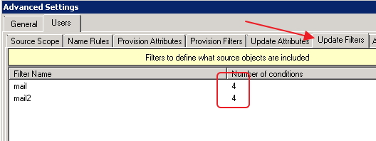 Screen shot of Update Filters Script Location